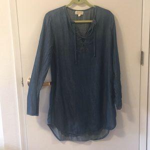 Cloth & Stone denim front tie dress